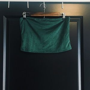 Urban Outfitters Tops - Urban Outfitters Dark Green Velvet Tube Top
